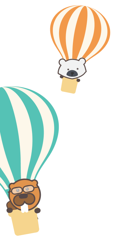 animals in hot air balloons