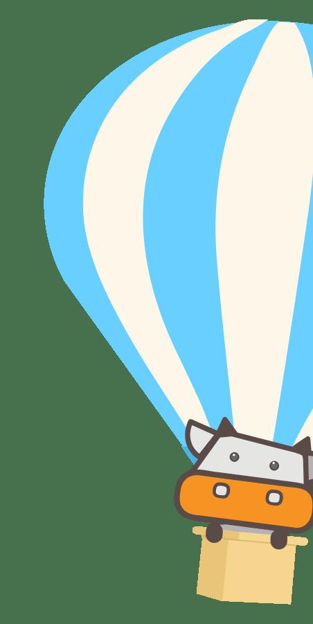 Zebee in a hot air balloon